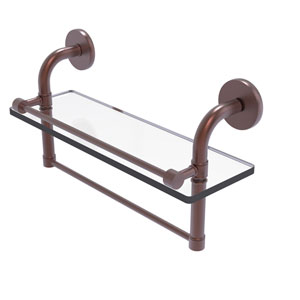 Remi Antique Copper 16-Inch Glass Shelf with Towel Bar