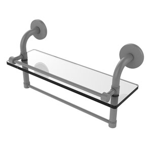 Remi Matte Gray 16-Inch Glass Shelf with Towel Bar