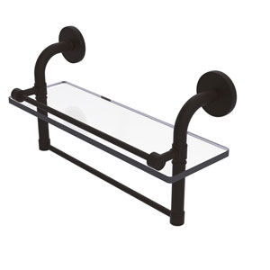 Remi Oil Rubbed Bronze 16-Inch Glass Shelf with Towel Bar