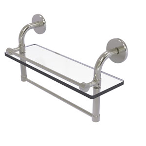 Remi Satin Nickel 16-Inch Glass Shelf with Towel Bar