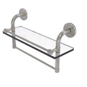 Remi Satin Nickel 16-Inch Glass Shelf with Towel Bar