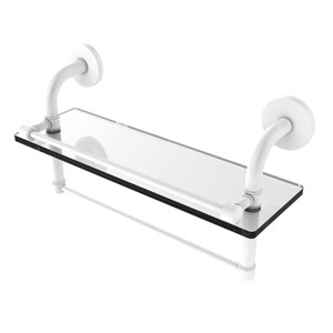 Remi Matte White 16-Inch Glass Shelf with Towel Bar
