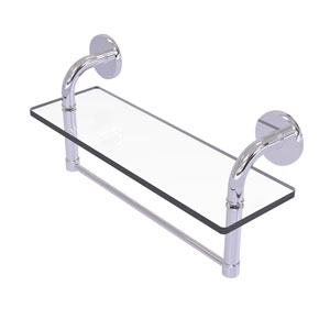 Remi Polished Chrome 16-Inch Glass Vanity Shelf with Integrated Towel Bar