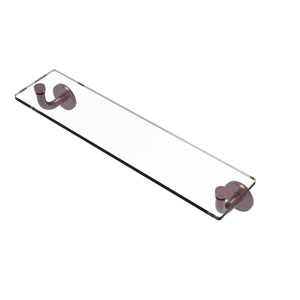Remi Antique Copper 22-Inch Glass Vanity Shelf with Beveled Edges