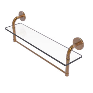 Remi Brushed Bronze 22-Inch Glass Vanity Shelf with Integrated Towel Bar
