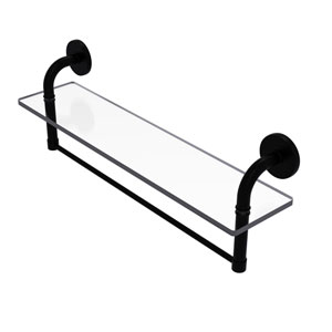 Remi Matte Black 22-Inch Glass Vanity Shelf with Integrated Towel Bar