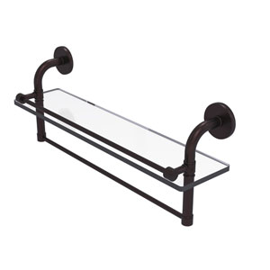 Remi Antique Bronze 22-Inch Glass Shelf with Towel Bar