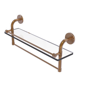 Remi Brushed Bronze 22-Inch Glass Shelf with Towel Bar