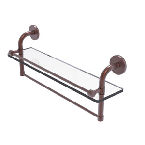 Remi Antique Copper 22-Inch Glass Shelf with Towel Bar