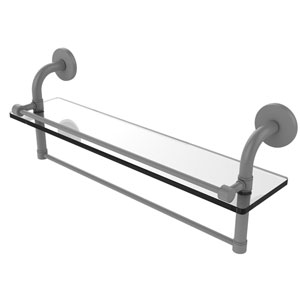 Remi Matte Gray 22-Inch Glass Shelf with Towel Bar