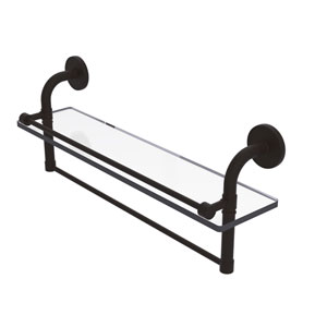 Remi Oil Rubbed Bronze 22-Inch Glass Shelf with Towel Bar