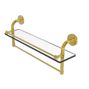 Remi Polished Brass 22-Inch Glass Shelf with Towel Bar