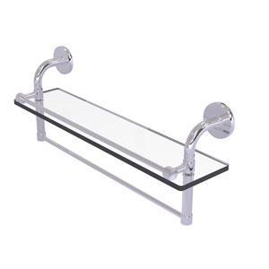 Remi Polished Chrome 22-Inch Glass Shelf with Towel Bar