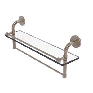 Remi Antique Pewter 22-Inch Glass Shelf with Towel Bar