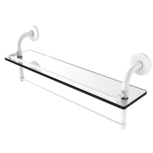 Remi Matte White 22-Inch Glass Shelf with Towel Bar