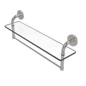 Remi Satin Nickel 22-Inch Glass Vanity Shelf with Integrated Towel Bar