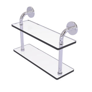 Remi Polished Chrome 16-Inch Two Tiered Glass Shelf