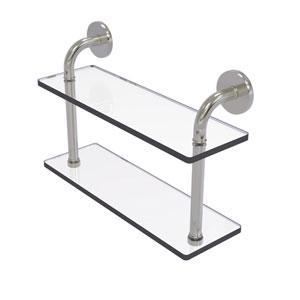 Remi Satin Nickel 16-Inch Two Tiered Glass Shelf