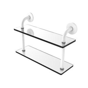 Remi Matte White 16-Inch Two Tiered Glass Shelf