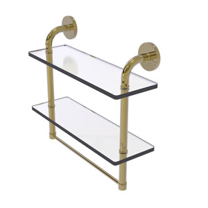 Remi Unlacquered Brass 16-Inch Two Tiered Glass Shelf with Integrated Towel Bar