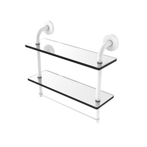 Remi Matte White 16-Inch Two Tiered Glass Shelf with Integrated Towel Bar