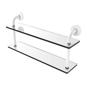Remi Matte White 22-Inch Two Tiered Glass Shelf