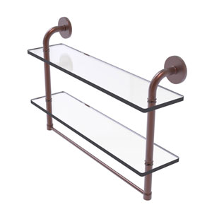 Remi Antique Copper 22-Inch Two Tiered Glass Shelf with Integrated Towel Bar