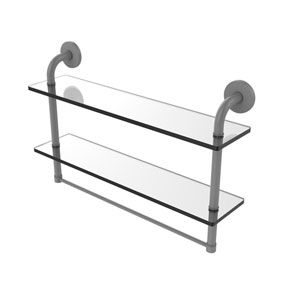 Remi Matte Gray 22-Inch Two Tiered Glass Shelf with Integrated Towel Bar