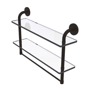 Remi Oil Rubbed Bronze 22-Inch Two Tiered Glass Shelf with Integrated Towel Bar