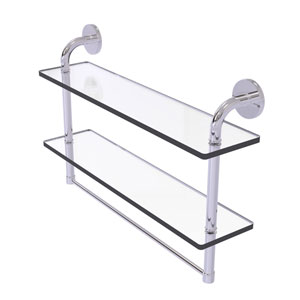 Remi Polished Chrome 22-Inch Two Tiered Glass Shelf with Integrated Towel Bar