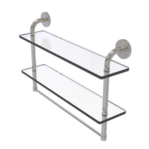 Remi Satin Nickel 22-Inch Two Tiered Glass Shelf with Integrated Towel Bar