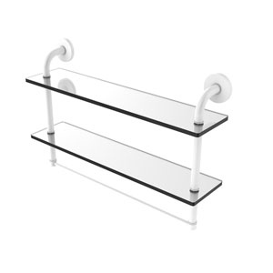 Remi Matte White 22-Inch Two Tiered Glass Shelf with Integrated Towel Bar