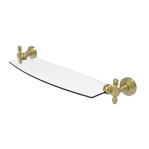 Retro Wave Satin Brass 18-Inch Glass Shelf