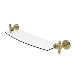 Retro Wave Unlacquered Brass 18-Inch Glass Shelf
