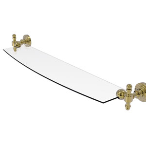 Retro Wave Unlacquered Brass 24-Inch Glass Shelf