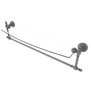 Retro Wave Matte Gray 24-Inch Glass Vanity Shelf with Integrated Towel Bar