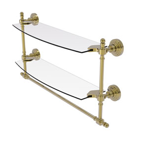 Retro Wave Unlacquered Brass 18-Inch Two Tiered Glass Shelf with Integrated Towel Bar
