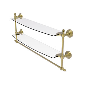 Retro Wave Satin Brass 24-Inch Two Tiered Glass Shelf with Integrated Towel Bar