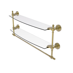 Retro Wave Unlacquered Brass 24-Inch Two Tiered Glass Shelf with Integrated Towel Bar