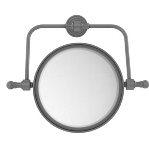 Retro Wave Matte Gray Seven-Inch Wall Mounted Swivel Make-Up Mirror with 4X Magnification