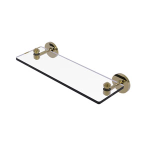 Southbeach Unlacquered Brass 16-Inch Glass Vanity Shelf with Beveled Edges