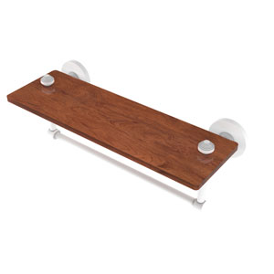 Southbeach Matte White 16-Inch Solid IPE Ironwood Shelf with Integrated Towel Bar