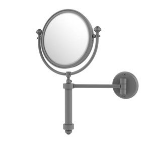 Southbeach Matte Gray Eight-Inch Wall Mounted Make-Up Mirror with 2X Magnification