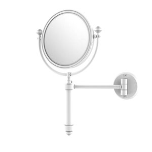 Southbeach Matte White Eight-Inch Wall Mounted Make-Up Mirror with 2X Magnification