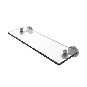 Sag Harbor Matte Gray 16-Inch Glass Vanity Shelf with Beveled Edges