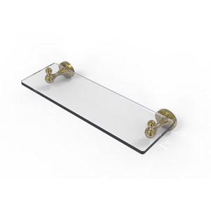 Sag Harbor Unlacquered Brass 16-Inch Glass Vanity Shelf with Beveled Edges