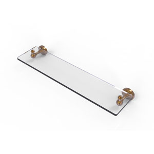 Sag Harbor Brushed Bronze 22-Inch Glass Vanity Shelf with Beveled Edges
