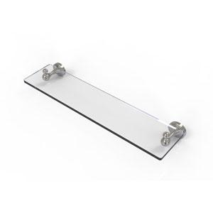 Sag Harbor Satin Nickel 22-Inch Glass Vanity Shelf with Beveled Edges