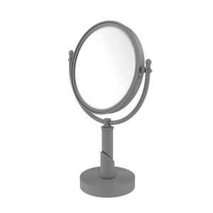 Soho Matte Gray Eight-Inch Vanity Top Make-Up Mirror with 5X Magnification