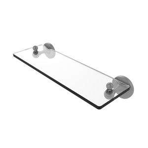 Shadwell Matte Gray 16-Inch Glass Vanity Shelf with Beveled Edges